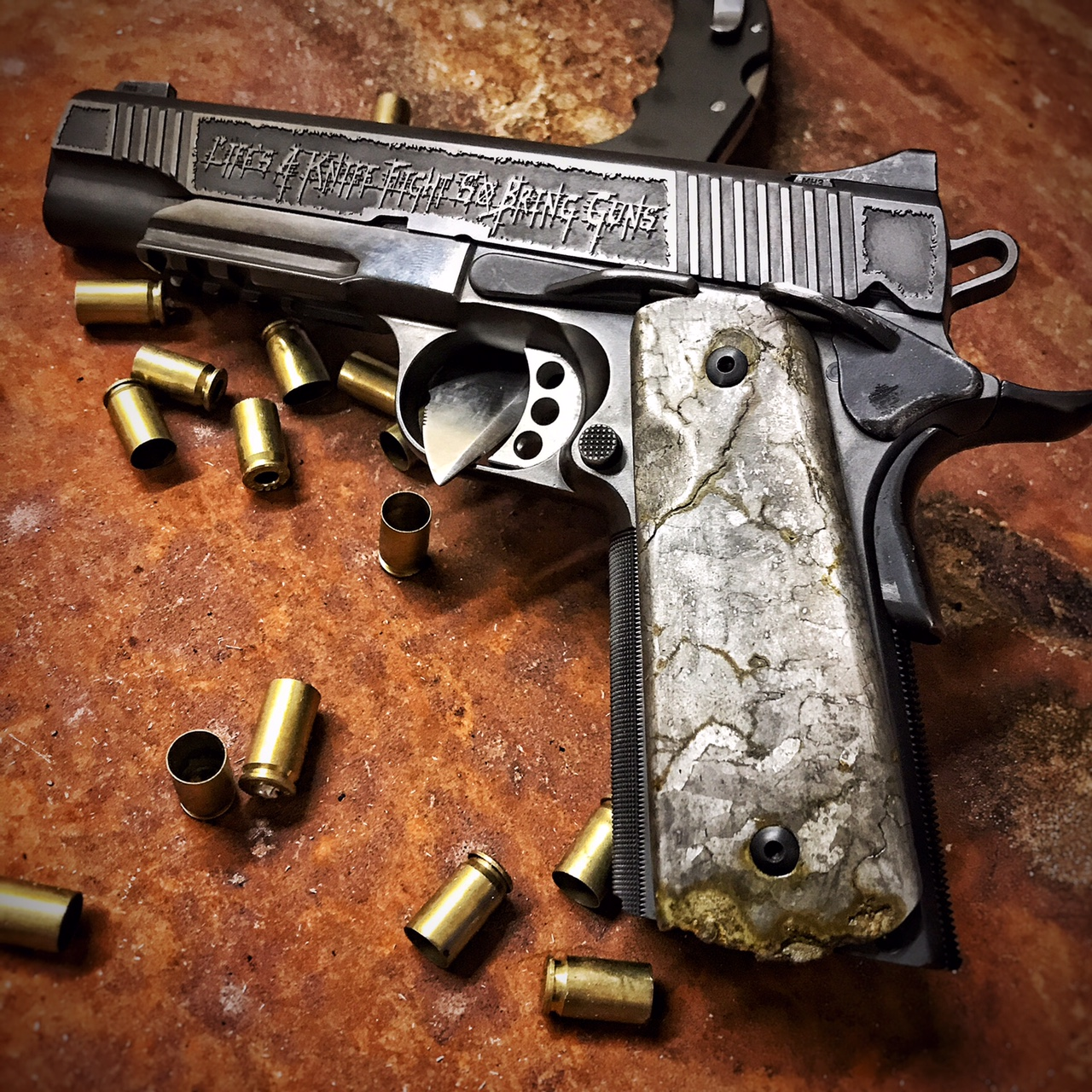 custom meteorite 1911 grips dark alliance firearms